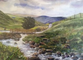 "Robert W. Harris: ""On HardKnott Pass"" Cumbria 39cm x 27cm"