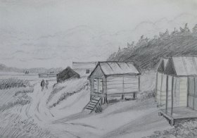 "Jill Marshall: ""Beachhuts at Minehead"
