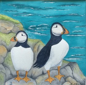 "Maureen Weeks:  ""Puffins on the Rocks"""